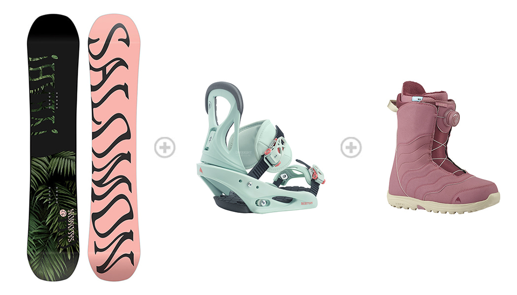 [S524] 데크 : SALOMON WMS OH YEAH 바인딩 : SALOMON WMS SPELL 부츠 : BURTON WMS MINT BOA DUSTY ROSE 1SA89500+3SA896WH+5B2895R6