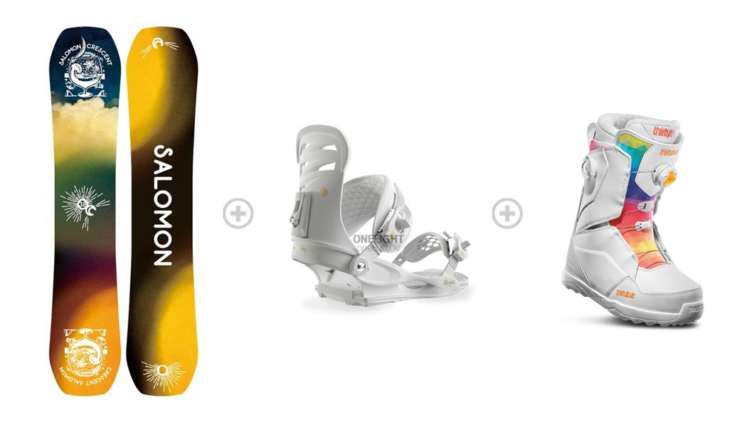[S550] 데크 : SALOMON WMS CRESCENT 바인딩 : UNION WMS ROSA™ 부츠 : 32_WMS LASHED DOUBLE BOA_WHITE 1SA89200+3UN886WH+532911WH