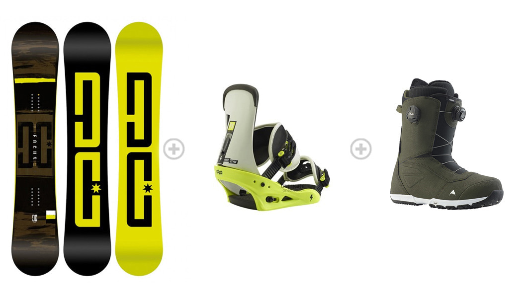 [S556] 데크 : DC FOCUS 바인딩 : BURTON FREESTYLE MTN DUDE GREEN 부츠 : SALOMON TITAN 1DC80200+3B2803GR+5SA805BK