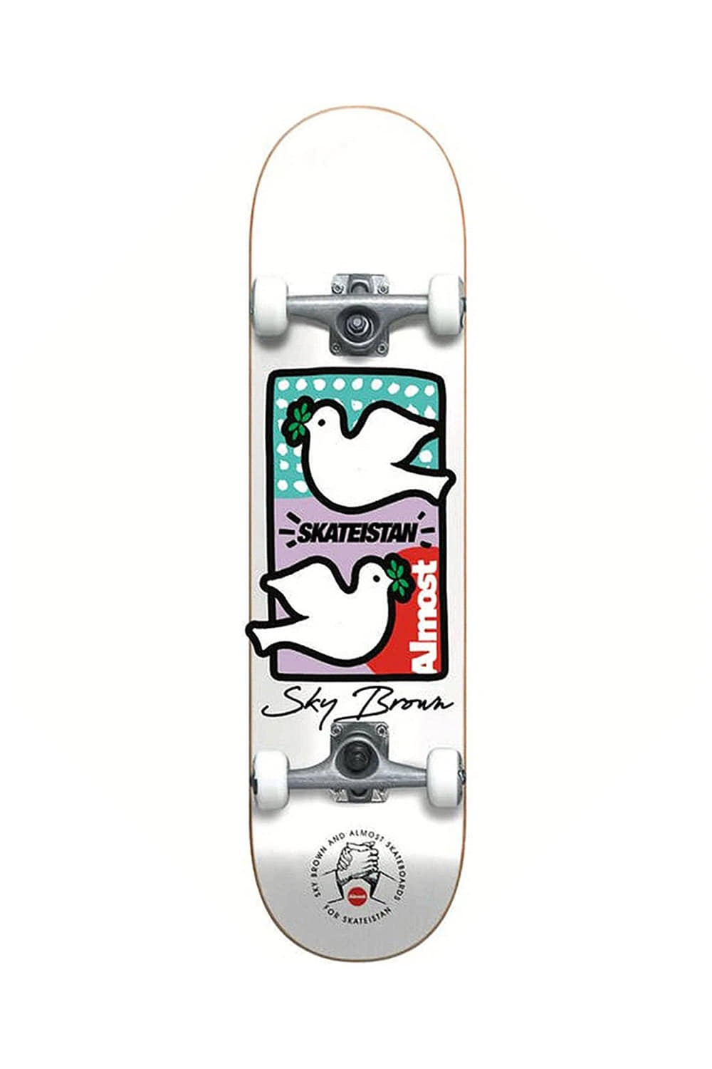올모스트 스케이트보드 컴플릿_ALMOST_SKY BROWN DOUBLE DOVES SKATEISTAN (WHT) 7.875_Z1M9039WH